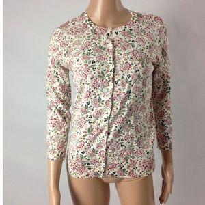 Loft F47 Womens Cardigan Sweater 100% Cotton Crew